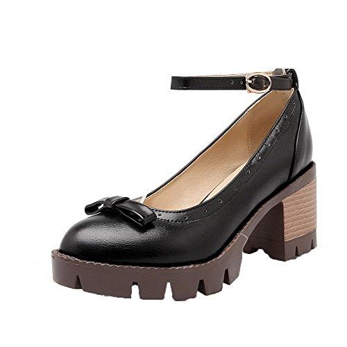 AgooLar Damen Mittler Absatz Schnalle Mikrofaser Schließen Zehe Pumps Schuhe Schwarz
