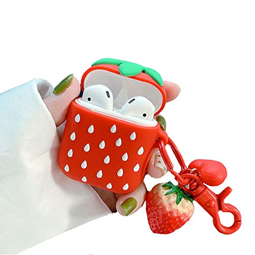 ICI-Rencontrer Super Creative Cute Fruit Strawberry Design Airpods Case Portable Solid AirPods Accessories Soft Silicone Waterproof Shockproof Protective Case with Hang Decorations (Strawberry)