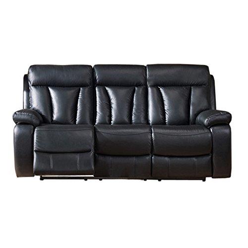 Coja by Sofa4life Kateson Leather Power Sofa Recliner, Black