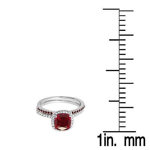 Dazzlingrock Collection 18K Gold Cushion & Round Cut Ruby & Round Cut White Diamond Ladies Bridal Halo Engagement Ring Set