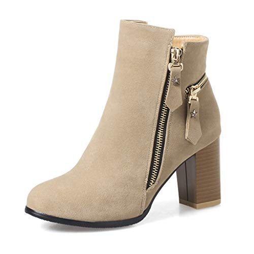 HAALIFE ◕‿Women Casual Mid Chunky Heel Ankle Booties Closed Toe Zipper Chunky Stacked Block Bootie