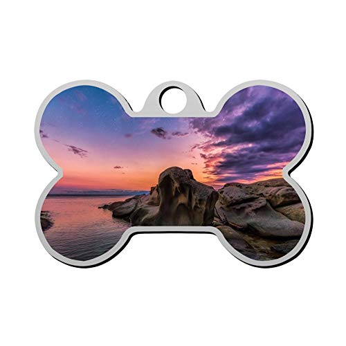 Kafne Sunset Personalized pet ID tag cat tag and Dog tag - Bone Shaped Identification ()