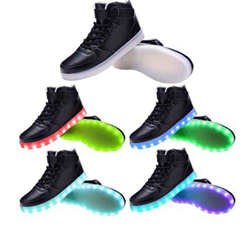 Littlepanda Dames Heren Hoge Top Usb Oplaad Led Schoenen Knipperende Sneakers Zwart