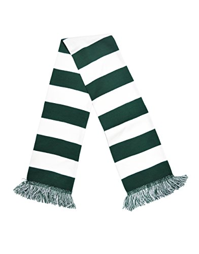 Bar Stripe Rugby (Dark Green and White Bar Pattern Knitted Scarf)