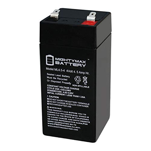 Mighty Max Battery 4 Volt 4.5 Ah SLA Battery for Zareba 2 Mile Fence Solar Charger Brand Product
