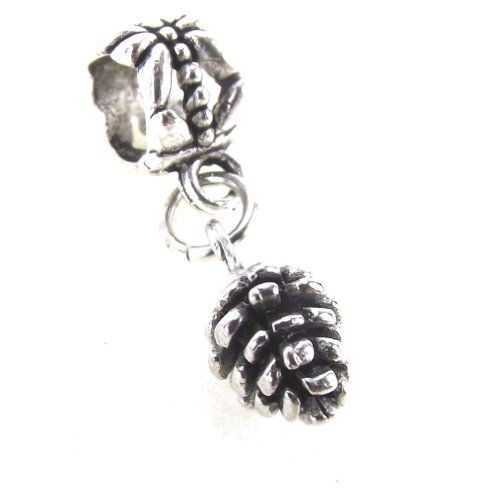 Pewter Silver Pinecone - LaFenne Story Antique Gold Plated Pewter Mini Pinecone Dangle Charm Interchangeable Slider Bead for Snake Chain (Antique Silver)