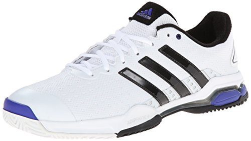 adidas Performance Men's Barricade Team 4 Tennis Shoe, White/Core Black/Night Flash, 9.5 M US