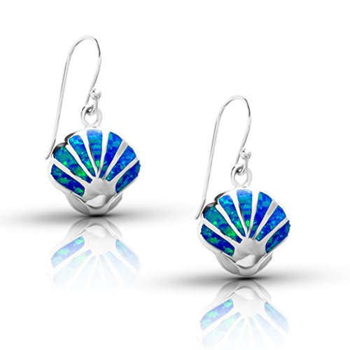 Sterling Silver Lab Created Blue Opal Shell Dangle - Shell Opal