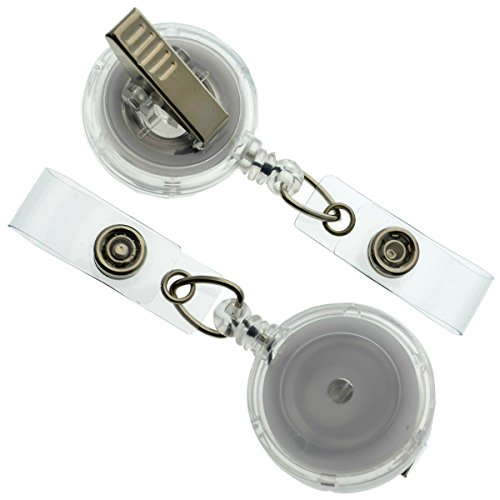 25 Pack - Clear Translucent Retractable ID Badge Reels with Alligator Swivel Clip by Specialist ID (Clear)