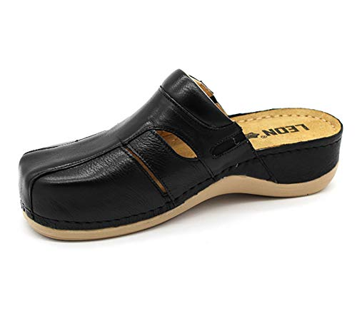 Leather Ladies Womens Slippers on Negro Clogs 925 Leon Slip Shoes Mule PpwH5In