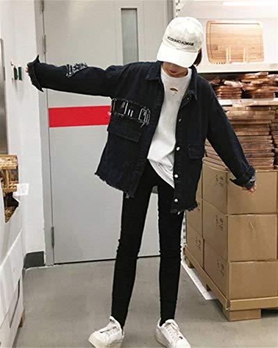 Denim Tendance Casual Automne Femme Outerwear Jean Blouson Dame Bleu Fille Fashion Hiver Revers Battercake Schwarz ZWYBvfqw0