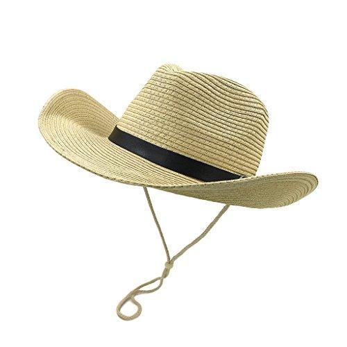 lethmik Straw Cowboy Hats Panama Western Sun Caps Summer Cowgirl Hats Beige