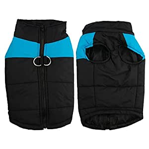 SODIAL Waterproof Pet Dog Puppy Vest Jacket Clothing Warm Winter Dogs Clothes Coat(blue+black)5XL