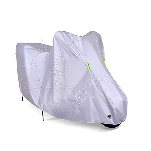Silver Motorcycle Cover Waterproof Outdoor Protection 210D Oxford Durable for XL 90 Inches Motorcycle Sport Bike Vehicle -