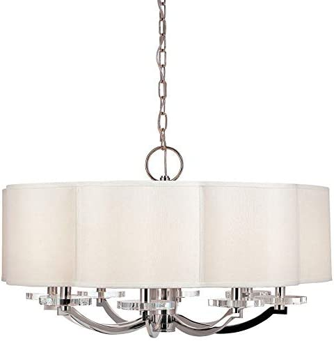 Hudson Valley Lighting 1432-PN Garrison – Eight Light Chandelier, Polished Nickel Finish with Off-White Faux Silk