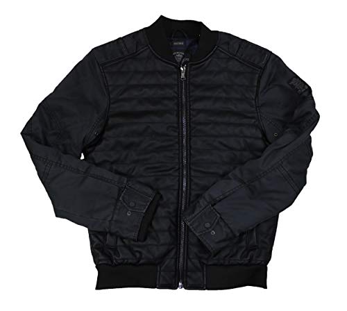 Buffalo David Bitton Faux Leather Quilted Bomber Jacket (Light Charcoal, (Light Flight Leather)