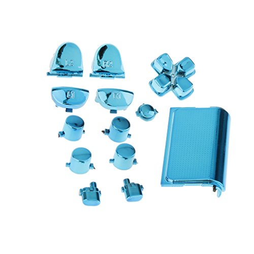 gazechimp 26-in-1 L1 L2 R1 R2 Trigger Button, ABXY D-pad Mod, Touch Pad Buttons Kit Parts for Sony PS4 Controller Accessories Bundle, Silver & Blue ()