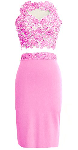 MACloth Gorgeous 2 Piece Jersey Cocktail Dress Short Prom Homecoming Formal Gown Rosa