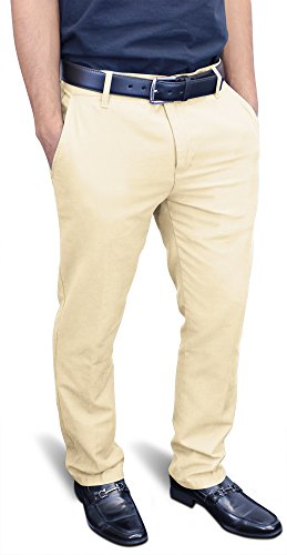 Tailored Slim Pant (Enimay Men's Fitted Formal Pants Flat Front Dress Tailored Cotton Bottoms Zipper Beige)
