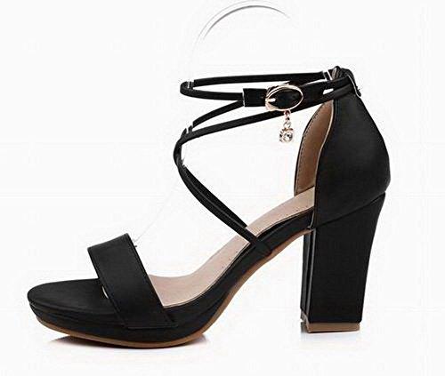 Haut Noir Sandales D'orteil Talon Gmblb014485 Agoolar Boucle Ouverture Femme Pu Cuir TZvABYw