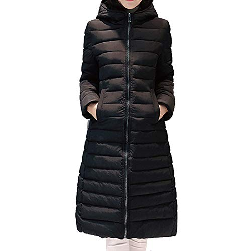 Limsea 2018 Women Parka Slim Jacket Outwear Solid Warm Hooded Coat Long Thicker Cotton X-Large Black ()