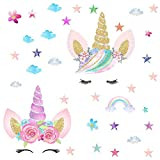 great bamboo wall decals [2 Pcs] Unicorn Wall Decals, Rainbow Unicorn Wall Stickers, Girls Bedroom Home Decor, Decorations, Wall Decor with Clouds and Stars for Kids Bedroom Decor Nursery Room Home Decor