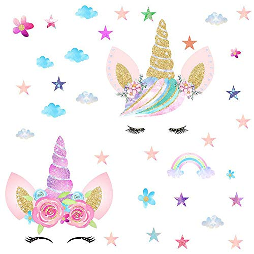 [2 Pcs] Unicorn Wall Decals, Rainbow Unicorn Wall Stickers, Girls Bedroom Home Decor, Decorations, Wall Decor with Clouds and Stars for Kids Bedroom Decor Nursery Room Home Decor