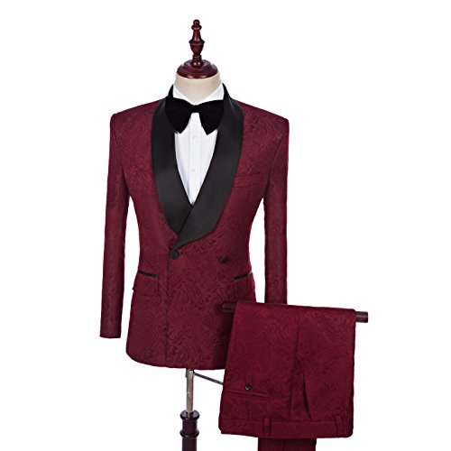 Dennis dress Men's Double-Breasted Burgundy Jacquard Suit Jacket & Pants (XXXL, Burgundy)