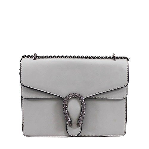 Ladies Faux Leather Chain Strap Horseshoe Detail Fashion Shoulder Bag Grey