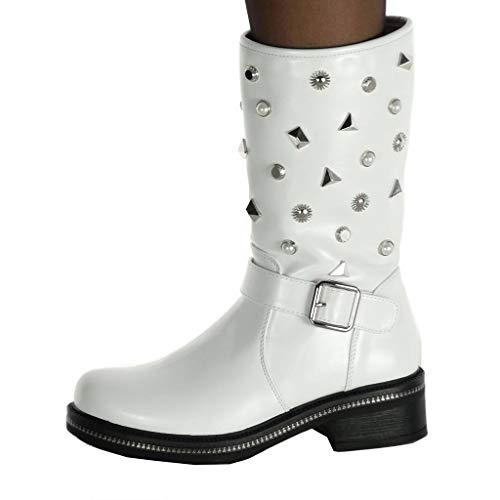 high Booty Fantasy UK 5 Thong Shoes 40 Studded Women's Ankle Boots Fashion Biker Boots Rock T B8858 Strap 4 Angkorly cm Ankle Block Heel 7 White wXOqZn