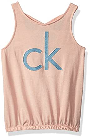 Calvin Klein Girls' Little Fashion Tank Top, Peach Heather, 4