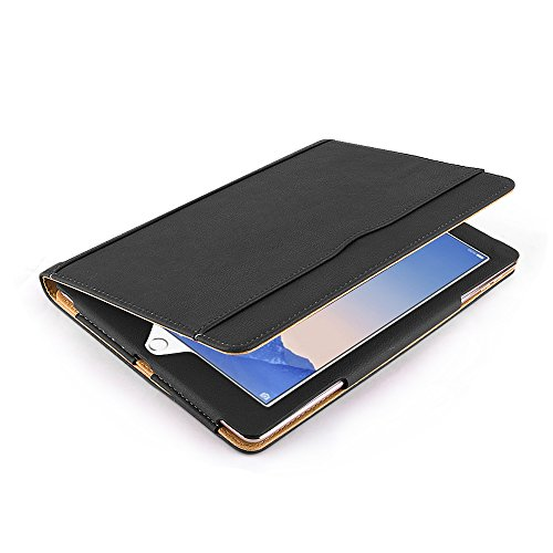 Ipad Air 2 Case, Apple Ipad Air 2 Premium Tan Leather Wallet Smart Flip Case Cover with Magnetic Sleep Wake Sensor (Black Photo #2