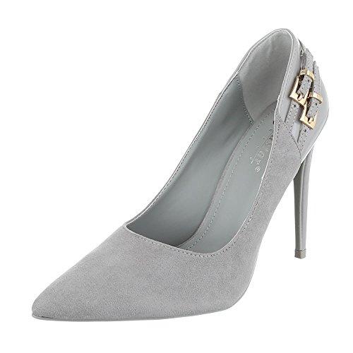 Ital-Design High Heel Damenschuhe Plateau Pfennig-/Stilettoabsatz High Heels Pumps Grau