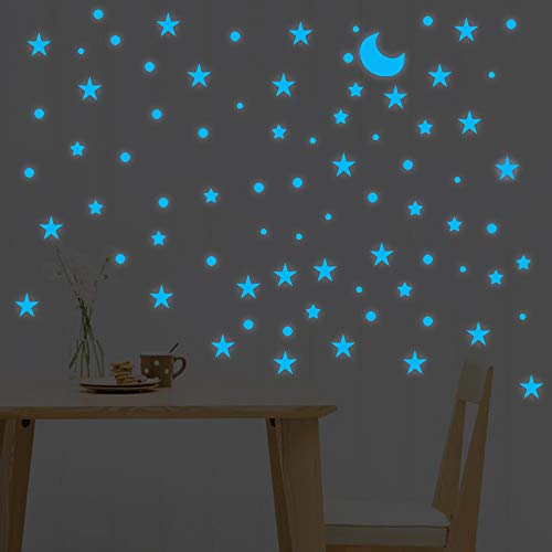 LOPET Wall Ceiling Stickers Glow in The Dark 138 Stars & 66 Dots & Moon, Realistic Decals Stickers Room Decoration Kit for Kids Bedroom (Blue Light)