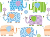 Baby Elephant print commercial wrapping paper - used in department stores!! It will come to you folded flat, so no crease marks. Measures 24 inches wide by 6 feet long - that's 12 square feet of wrapping paper. Wraps approx. 3 shirt box sized...