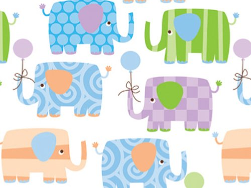 Pack of 1, Baby Elephants Gift Wrap 18'' x 833' Gift Wrap Full Ream Roll for Holiday, Party, Kids' Birthday, Wedding & Special Occasion Packaging by Generic