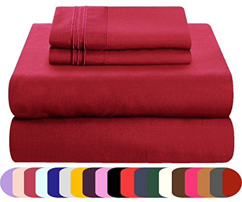 Mezzati Luxury Bed Sheets Set - Sale - Best, Softest, Coziest Sheets Ever! 1800 Prestige Collection Brushed Microfiber Bedding (Burgundy, Queen) (Sale Amazon)