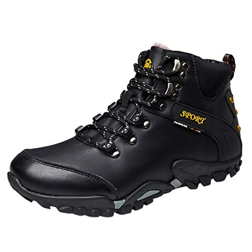 Succper Sneakers for Men High-Top Outdoor Hiking Shoes Non-Slip Wearable Walking Shoes Black (Air Jordan 1 Black And Gold For Sale)