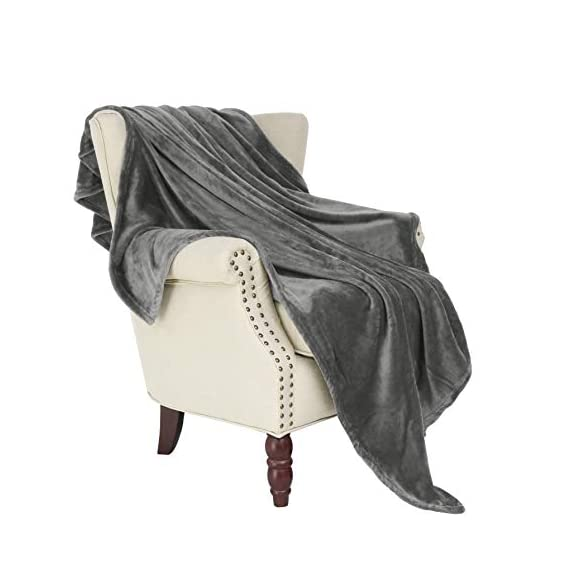 "Exclusivo Mezcla Large Flannel Fleece Velvet Plush Throw Blanket – 50"" x 70"" (Grey) - 280GSM FLANNEL FLEECE- The flannel fabric we choose is originally made from 100% microfiber polyester and brushed to create extra softness on both sides,the throw is designed to be simple but elegant EXTRA LARGE- This throw can be a very useful item to have on hand. Compare with standard size ones, this throw blanket measured by 50"" x 70"" suits better for adults. Enough weight to keep you comfortable, yet light enough to keep you from breaking out in sweat. VERSATILE- Made of premium flannel, this plush throw is super soft, durable, warm and lightweight. It's wrinkle and fade resistant, doesn't shed, and is suitable for all seasons. - blankets-throws, bedroom-sheets-comforters, bedroom - 41EFNQk4bQL. SS570  -"