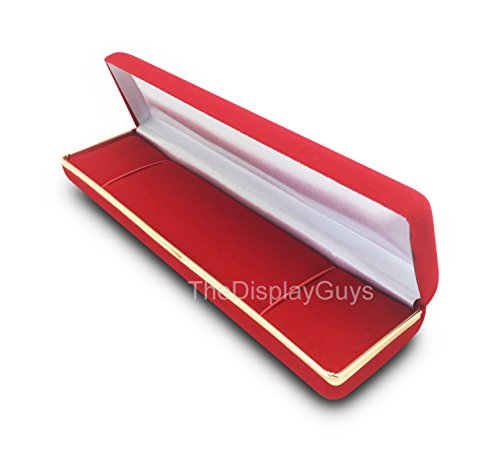 Velvet Bracelet Box (The Display Guys~ Deluxe Red VELVET Bracelet & Watch Gift Box, Jewelry Presentation Display Case, with Gold Trim Metal Hinge (8x2x1 1/8 inch))