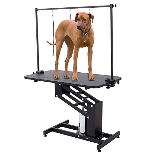SUNCOO Pet Dog Grooming Table Heavy Duty Z-Lift Table with Arm Leash Loop Height Professional Adjustable Hydraulic Pump Medium Large Dog 43.3 L x 24 W x 21.6-38.9 H