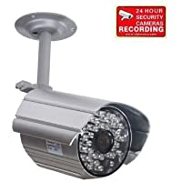 VideoSecu CCTV Audio Video Bullet Security Camera 420TVL Outdoor Day Night Vision 30 Infrared LEDs Weatherproof Home Surveillance with Metal Bracket and Bonus Security Warning Decal IR806AS BBU