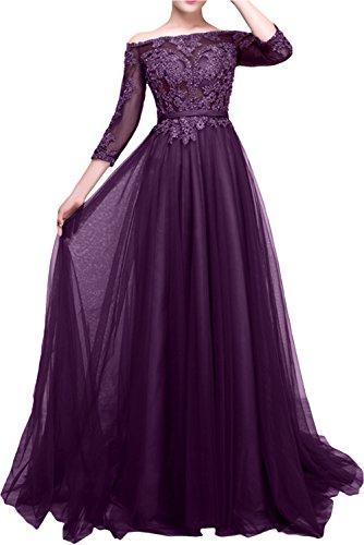 Spitze Kleider Abendkleider Damen Langarm Dunkel La Partykleider Traube Promkleider mia Jugendweihe Braut Gruen XnwZxHR6