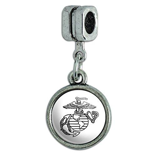 Graphics and More Marine Corps USMC Black White Eagle Globe Anchor Logo Officially Licensed Italian European Style Bracelet Charm Bead Eagle Italian Charm Bracelet