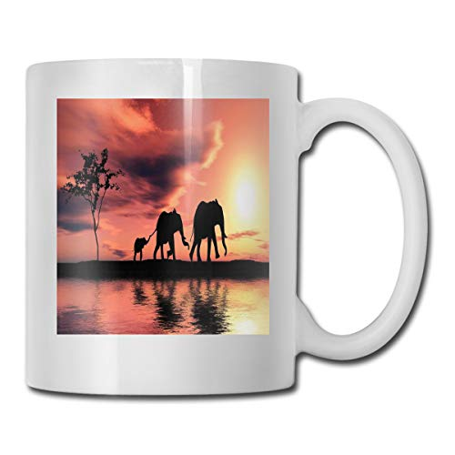 - Funny Ceramic Novelty Coffee Mug 11oz,Elephant Silhouettes By River Africa Animals Adventure Landscape,Unisex Who Tea Mugs Coffee Cups,Suitable for Office and Home