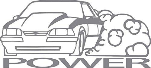 Fox Body Power Vinyl Sticker Decal All Cars USA Mustang Racing Suspension Illest Slammed Cars Trucks Vans Walls Laptop Static Hellaflush Supra Skyline Diecut by SNG888 (Silver)