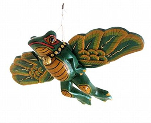 Frog Statue Wooden Frog Mobile Flying Frog Wind Chime Spirit Catcher, Hand Painted - OMA BRAND