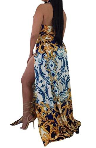Coolred-femmes Sexy Licol Haut Fendue Impression Florale Dos Robe Partie Évidé As1