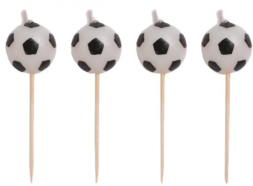 Creative Converting 4 Count Sports Fanatic Soccer Shaped Pick Candles - 100764