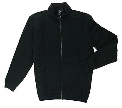 Calvin Klein Jeans Mern's Full-Zip Fleece Sweater Jacket Black Large